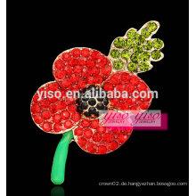 Rote Kristall Blume Rebe Brosche