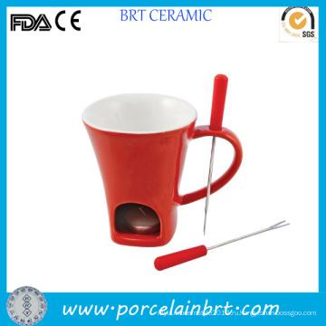Уникальный красный керамический фондю кружку с вилкой
