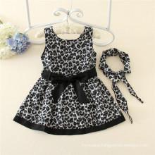 Spring Autumn Kids Wear Girls Black Leopard Print Boutique Dresses For School Children Fashion Clothes