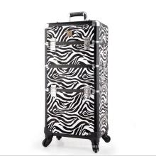 Die schwarz weiße Zebra Leder Kosmetiktasche (hx-q073)