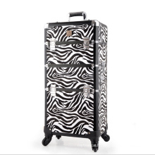 L'étui à cosmétiques en cuir Zebra blanc noir (hx-q073)