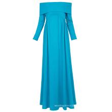Kate Kasin Sexy Womens Maternity Long Sleeve Off Shoulder Long Maxi Sky Blue Maternity Dress KK000677-2