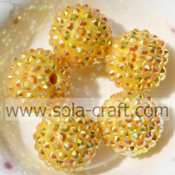 20 * 22mm scatenando resina strass AB giallo perline per fare collane,