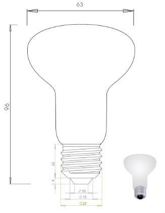 LED Filament Light R80 6w