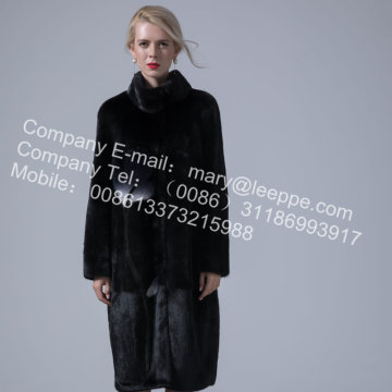 Women Winter Hooded Mink Fur Overcoat
