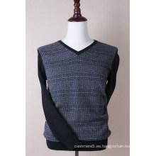 Jersey de hilo de seda de cachemir con cuello en V para hombres