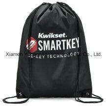 Personalizado negro impermeable 210d Polyester Drawstring mochila mochila playa bolsa de playa