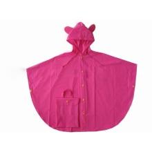 Yj-6080 Nette rosa PVC Einweg Kinder Totes Regen Poncho Regenmäntel für Mädchen