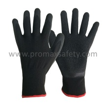 13G Black Polyester Shell Black Crinkle Latex Palm Dipping Gloves