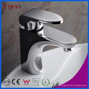 Fyeer Banheiro Contemporânea Monocomando Latão Cromado Hot & Cold Water Mixer Tap