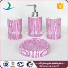2015 roxo listras verticais de cerâmica 4pcs conjunto de acessórios de banho