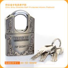 Europe Market Good Quality Zinc Alloy Shackle Half Protected Atomic Key Padlock