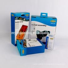 Boîte de papier imprimé personnalisé pour lampe de voiture avec crochet