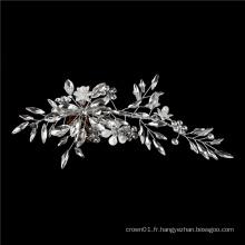 Accessoires de cheveux de mariée de mariage en cristal d'argent