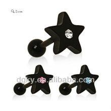 Fashion Black Star Gemmed brinco estrela preta brinco