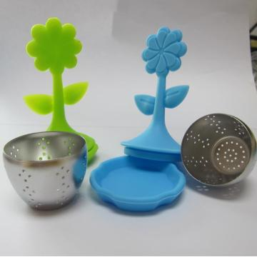 Green Tea Infuser Material Safe Silikon Lotus Handle