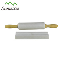 Noodle White Marble Stone Rolling Pin With Wood Grip