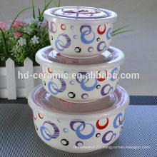 porcelain fresh seal bowl microwave oven bowl set,3pcs preservation bowl,3pcs fresh seal bowl,premium ceramicware set