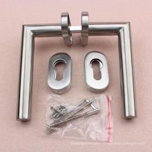 Narrow door Tubular Stainless Steel Material Door Handle Vintage Hardware on oval escucheon