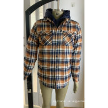Men's Quilted Lined Flannel Shirt Jacket With Hood