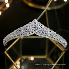 Новая свадьба принцесса серебряные свадебные ободки для волос кристалл вечерние украшения для волос королевская корона невесты циркон диадемы с фианитом
