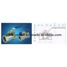 Válvula de bola de acero inoxidable CF8m 1000psi 1-PC