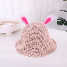 Stock Fashion Children Knitted Moving Rabbit Ears Straw2020 Custom Children Kids Cute Animal kids Summer Straw Hat Sun Beach Hat