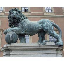 Japanese outdoor large bronze antique lion king garden statues