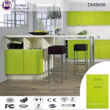 Muebles de madera del gabinete de cocina del color verde brillante