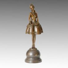 Dancer Statue Naive Girl Bronze Sculpture, P. Philippe TPE-317