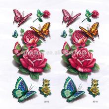 Modèle de pivoine avec style asiatique papillon style asiatique imperméable autocollant de tatouage 3D personnalisé