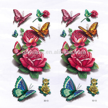 Peony pattern with butterfly Chinese style Asian style Waterproof Customized 3D tattoo sticker