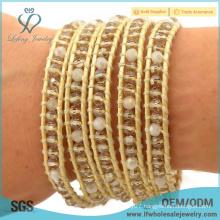 New arrival bohemian jewelry gold bohemian bracelet wrap around bead crystal bracelet