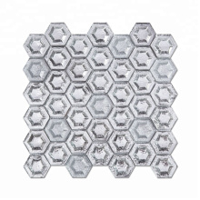 Silver Hexagon Mosaic Tile Glass Mosaic for Wall or Floor