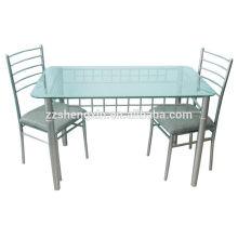 Mesa de jantar de vidro temperado set 1 + 2 conjunto de móveis de sala de jantar