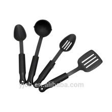 Весь черный 4шт хороший набор посуды из нейлона