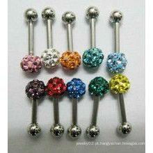 Bola de cristal colorido stud / crystal bola orelha stud /
