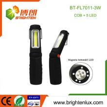 Alimentation en usine 3 * AAA Matériau ABS d'occasion 5 LED et COB Batterie led portable Lumière de travail avec base magnétique