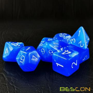Bescon Moonstone Dice Set Dodgerblue, Bescon Polyhedral RPG Dice Set Moonstone Effect