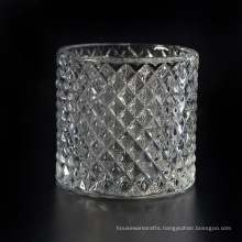 Luxury Candle Jar with Facted Patterned