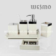 Accessoires de bain en bambou blanc lavé en couleur (WBB0304B)