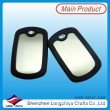 Placas de identificación en blanco del metal de encargo con el silicón de goma negro (LZY00133)