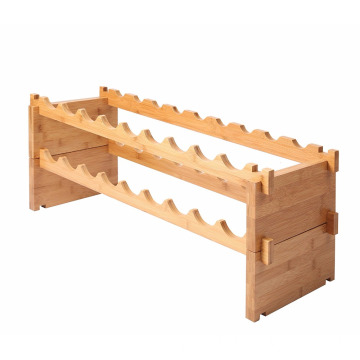 18-Bottle Stackable Natural bamboo Wine Display Storage Rack