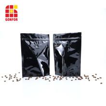 Bolsas de café Ziplock de aluminio negro de 16 oz con válvula
