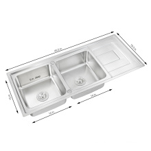 Africa Popular Double Bowl 304 Stainless Steel Drainboard Kitchen Sink