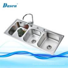 Badezimmer-Eitelkeits-3 Fach-tiefgezogener Tropfen im Edelstahl-Waschbecken mit Abfluss