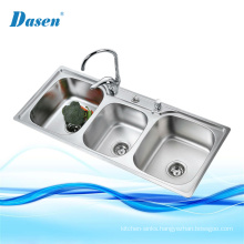 Bathroom Vanities 3 Compartment Deep Drawn Drop In Stainless Steel Sink With Drain