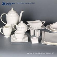 Vollständiger Verkauf reines weißes neues Entwurfslogo fertigen keramischen Teesatz einfaches weißes keramisches Teeset besonders an