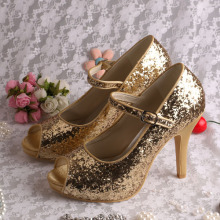 Damen Gold Glitter Abendschuhe Mary Jane