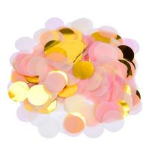 Papier rond et confettis métalliques roses et dorés